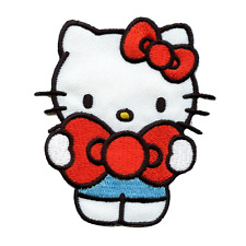 Hello Kitty Holding Red Bow Iron On Embroidered Patch
