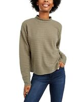 Hippie Rose Junior Womens Cozy Mock Neck Ribbed Top Sweater Moss Extra Small