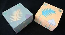 2x 1980s Haitian Wooden Covered Boxes w. Painted Floral Motif (Stea)