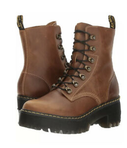 NEW Sz 11 EU 43 Dr Martens Leona Butterscotch Orleans 7-Eye Platform Boots Women