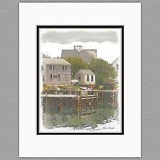 Port Clyde Maine Fishing Village Original 8x10 Art Print Matted to 11x14