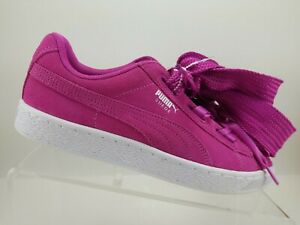 Puma Suede Pink Leather Lace Up Thick Shoelaces Fashion Sneakers Womens 8.5C