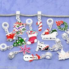 50PCs Silver Plated Enamel Christmas Charm Dangle Beads Fit Charm Bracelet