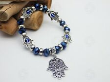 Silver Hamsa Bracelet Blue Glass Hand of Fatima Bead Luck Reiki Evil Eye Gift UK