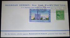 NEW YORK WORLD'S FAIR 1939 RAILROAD EXHIBIT RAILWAY MAIL SERVICE POSTCARD COVER