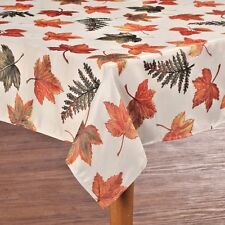 "Metallic Maple Leaves Fabric Tablecloth Oblong 54"" x 72""  Fall Holiday Kitchen"