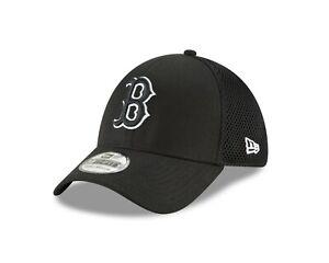 Boston Red Sox New Era Neo Black & White 39THIRTY Flex Hat