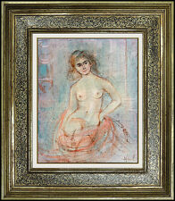 Edna Hibel Original OIL PAINTING on Board Nude Female Portrait Signed Artwork