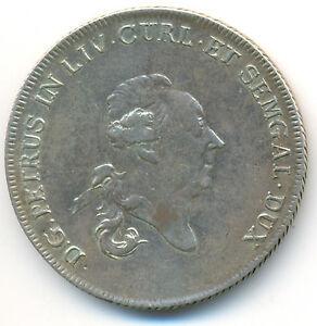 Russia Latvia Courland Peter Biron Silver Thaler 1780 RARE !!! XF