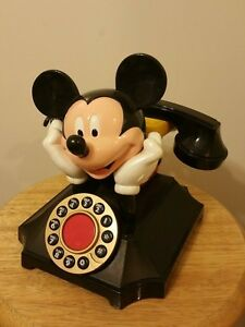 Vintage Mickey Mouse Push Button Landline Phone..WORKS