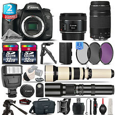 Canon EOS 7D Mark II Camera + 50mm 1.8 STM +75-300mm III +2yr Warranty -64GB Kit