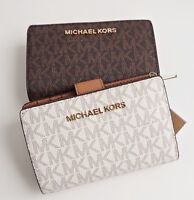 Michael Kors portemonnaie geldbörse jet set travel bifold zip wallet vanilla neu