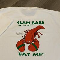 Bates College T Shirt Mens XL Adult White Clam Bake Lobster Outing Club 2002