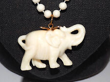 NOS Vtg Ivory Color Plastic Lucky Elephant Charm Necklace Hong Kong+Key Chain
