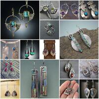 925 Silver Amber Peridot Sapphire Ear Hook Malachite Party Drop Dangle Earrings