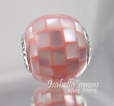 COMPASSION ESSENCE Authentic PANDORA Silver/PINK PEARL MOSAIC Charm/Bead NEW