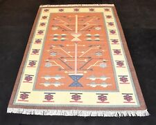 Hand Woven Oriental Cotton Kilim Area Rug For Bedroom Guest Room Living 4x6 Feet