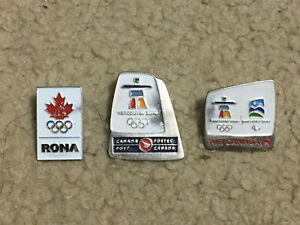 2010 Vancouver Olympic Pins LOT of 3  Corporate Sponsors RONA Air Canada Post