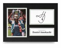 Daniel Amokachi Signed A4 Photo Display Everton Autograph Memorabilia + COA