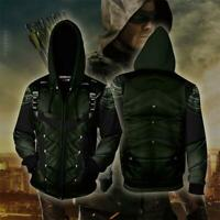 2019 Marvel Green Arrow 3D Hoodie Sweatshirt Cosplay Costume Zip Coat Jacket