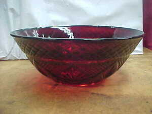 """Beautiful Vintage Ruby Red Glass Serving Bowl 10"""""""