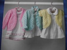 KNITTING PATTERN - BABY CARDIGANS FRILLED/PICOT EDGE, LONG/SHORT SLEEVES