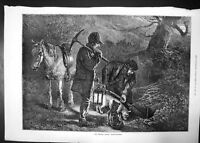Old Antique Print Hunting Season Earth Stopping 1872 Horse Dogs Men Axe 19th