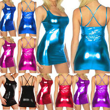 Hot Sexy Women Shiny Dance Wear Skirt Wet Look Bodycon Party Mini Dress Clubwear