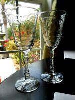 2 Crystal Wine Glasses LIBBEY ROCK SHARPE Elegant Normandy Cut   1930s