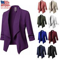 US Fashion Women Suit Coat Business Blazer Long Sleeve Outwear Ladies Jacket NEW