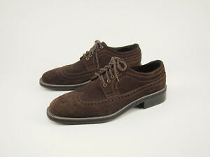 COLE HAAN Chocolate Suede Wingtip Dress Oxfords 11
