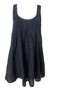 Seafolly Size L (12/14) Black Cotton Pin Tucked Flared A Line Dress w Pockets