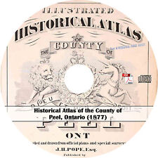 1877 County of Peel, Ontario Plat Book & Atlas Maps History on CD