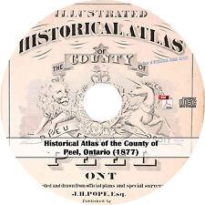 1877 County of Peel, Ontario Plat Book & Atlas Maps History on CD