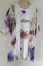 New Italian Lagenlook Summer Floaty Tunic Top White Floral Plus Size 18 20 22 24