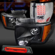 09-14 F150 Black Projector Headlights+Chrome LED Tail Lamps+Smoke LED 3rd Brake