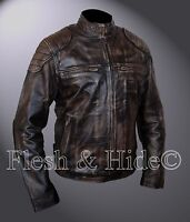 Genuine Cowhide Leather Distressed Finish Cafe Racer Jacket