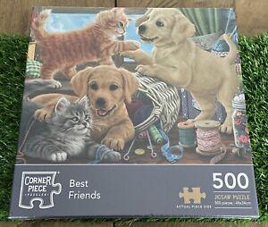 Corner Piece 'Best Friends' 500 Piece Kitten & Puppy Jigsaw Puzzle NEW SEALED