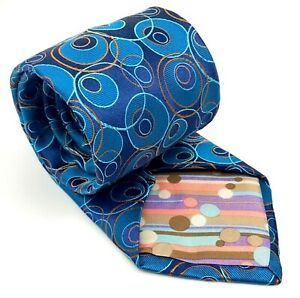 TED BAKER London Tie Silk Hand Tailored Blue Turquoise Circles Woven Necktie