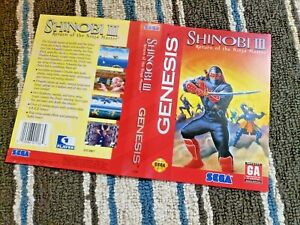 BOX ART ONLY Shinobi III 3 Original Sega Genesis Case Sleeve OEM