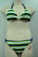 SO Blue Jean Lime White Striped Halter Bikini Top or Bottom Swimwear MSRP $28