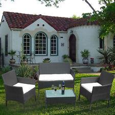 Polyrattan Rattan Lounge Set Sitzgruppe Garnitur Sofa Sessel Luxus Tisch + Glas