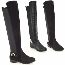 Women's Synthetic Leather Slip on Over Knee Boots