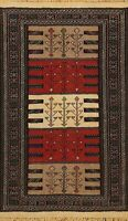 Tribal Geometric Kilim Oriental Area Rug Wool Hand-Woven Traditional Carpet 4x6