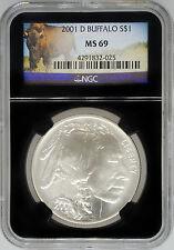 2001-D NGC MS69 Uncirculated Silver Buffalo - Unique Retro $1 Coin!