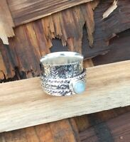 Rainbow Moonstone Solid 925 Sterling Silver Spinner Ring Meditation Jewelry A5