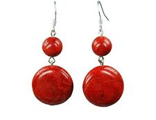 Gorgeous Earrings in Coral BALLS AND ROUND SHAPE 925 Silver Hook Earrings