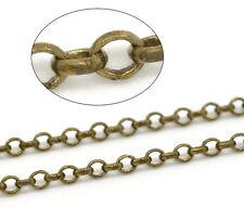 10M Chaîne Maille Forçat en Cuivre Couleur Bronze 2.5mm