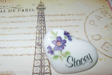 Violets Heart Pin Stacey Purple Flowers Vintage so cute Free USA ship