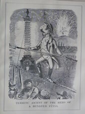 "7x10"" PUNCH cartoon 1852 TERRIFIC ASCENT OF THE HERO OF A HUNDERD FETES napoleon"